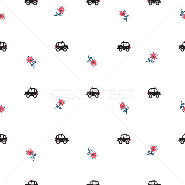 Londen cartoon taxi auto bloemen Stockfoto © yopixart