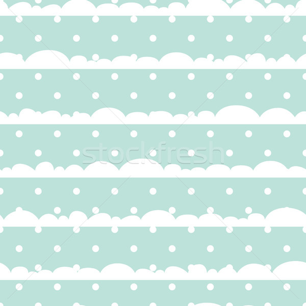 Blue and white polka dot clouds baby seamless vector pattern. Stock photo © yopixart