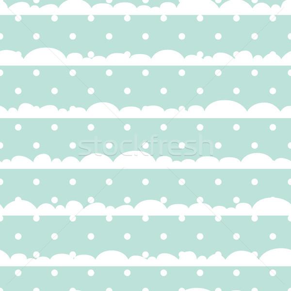Bleu blanche à pois nuages bébé Photo stock © yopixart
