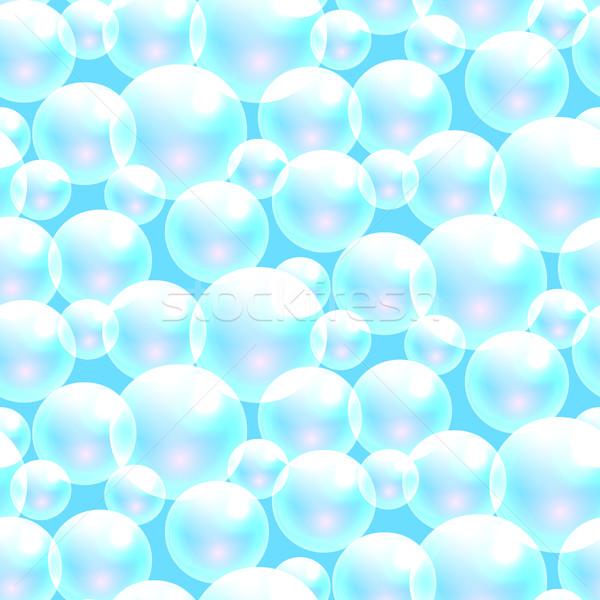 Vektör sabun köpüğü mavi şeffaf kabarcıklar Stok fotoğraf © yopixart