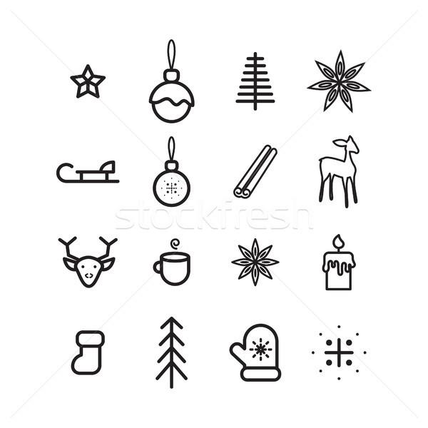 Nouvelle année simple vecteur Noël arbre Photo stock © yopixart