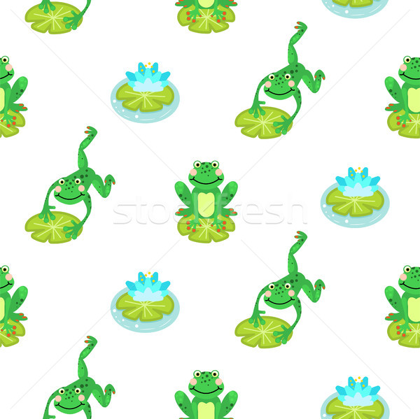 Stock photo: Frogs cartoon green seamless vector pattern.