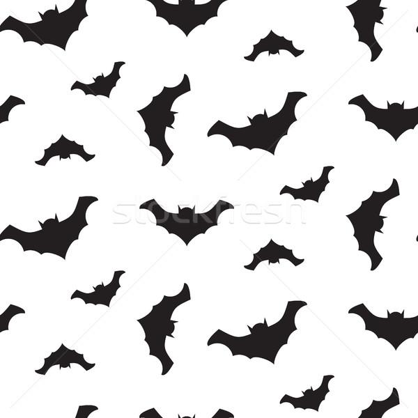 Stock photo: Halloween vector flying bats seamless pattern.