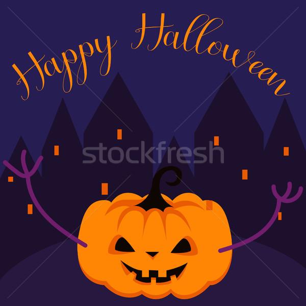 Happy Halloween spooky pumpkin greeting card vector template. Stock photo © yopixart