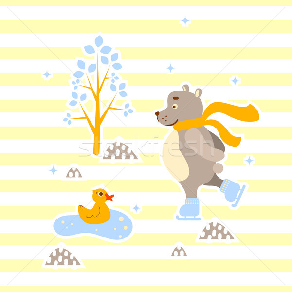 Cute bear and duck friends ice-skating vector illustration for print. Stock photo © yopixart
