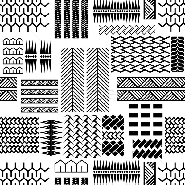 Black and white mayan embroidery seamless vector pattern. Stock photo © yopixart