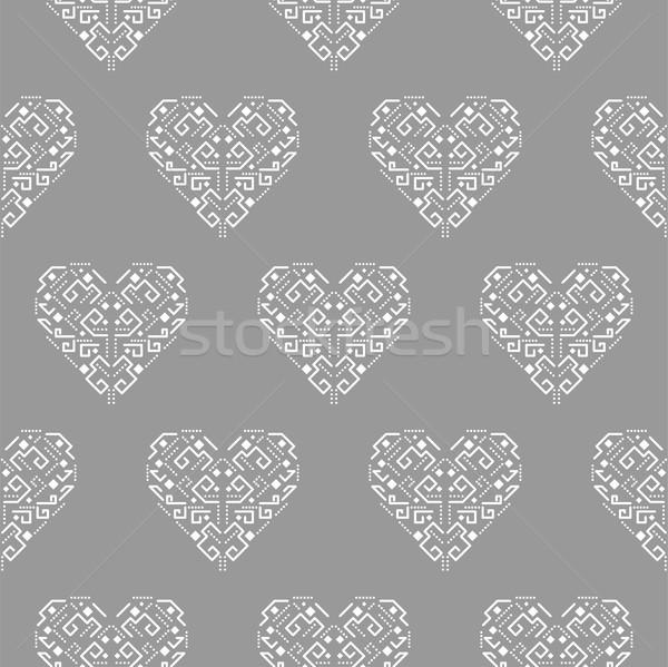 Tribal forma de coração ornamento sem costura vetor padrão Foto stock © yopixart