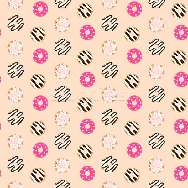 Végtelenített vektor minta édes fánkok rózsaszín Stock fotó © yopixart