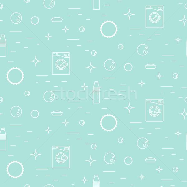 Wasmachine zeepbellen dun lijn lichtblauw Stockfoto © yopixart