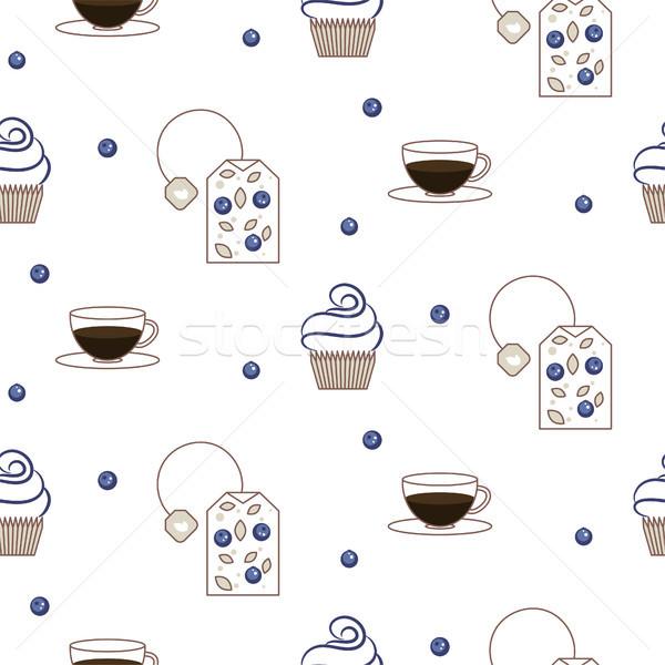 Vector tea package seamless pattern. Stock photo © yopixart
