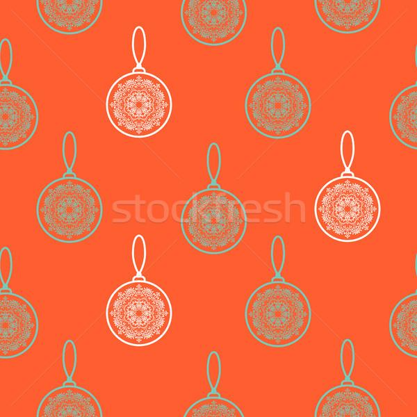 árvore de natal decoração sem costura vetor padrão ano novo Foto stock © yopixart