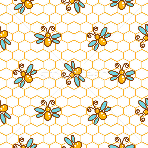 Honeycomb pattern and bees line vector background. Stock photo © yopixart