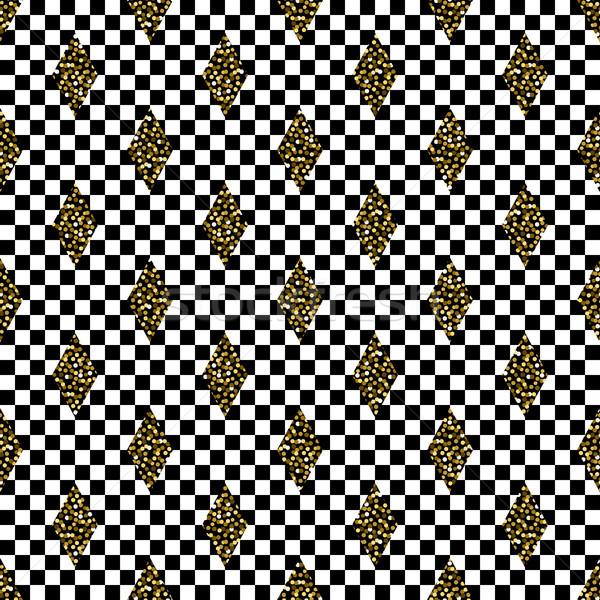 Naadloos meetkundig zwart wit patroon abstract vector Stockfoto © yopixart
