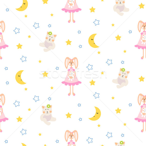 Pizsama minta nyuszi medve plüss játék Stock fotó © yopixart