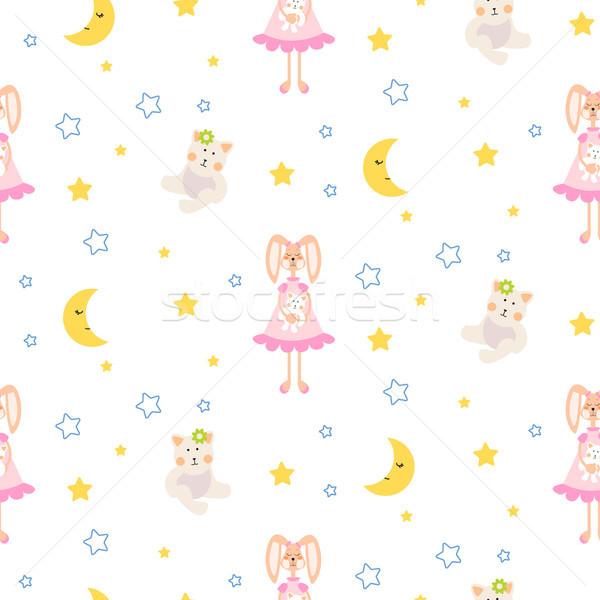 Pajamas pattern with tilda bunny, bear plush toy seamless vector. Stock photo © yopixart