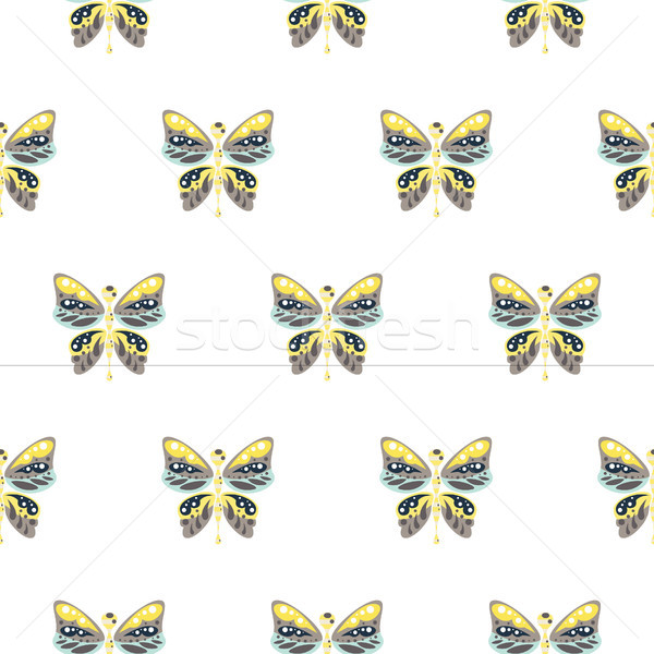 Butterfly yellow and blue baby seamless vector pattern. Stock photo © yopixart