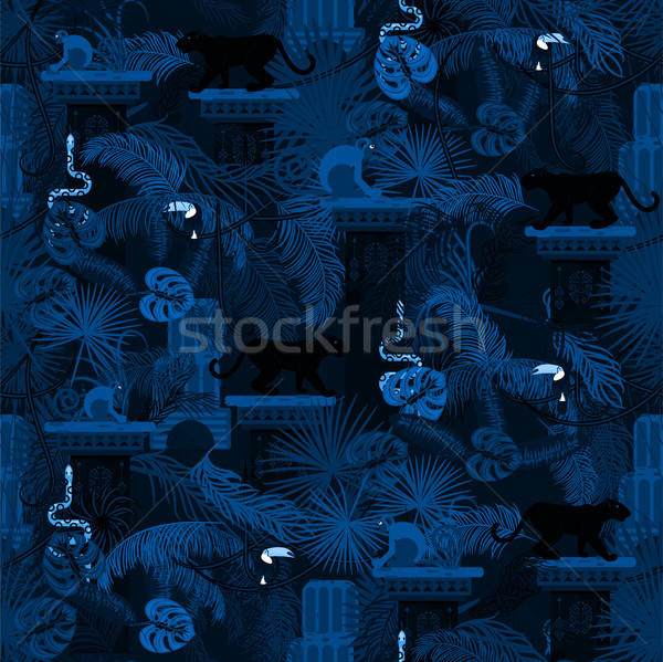 Blue night rainforest wild animals and plants seamless pattern. Stock photo © yopixart