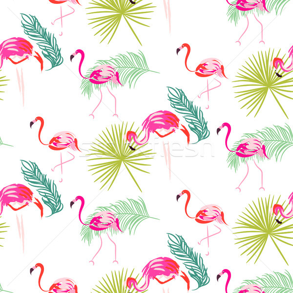 Stock photo: Summer flamingo and palm tropic branches seamless pattern.