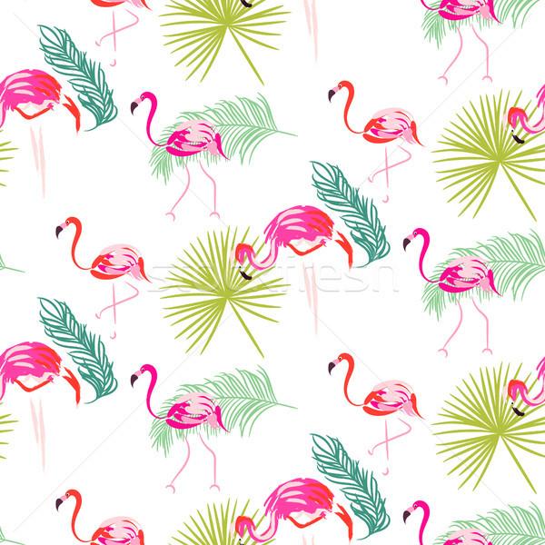 Nyár flamingó pálma trópusi ágak végtelen minta Stock fotó © yopixart
