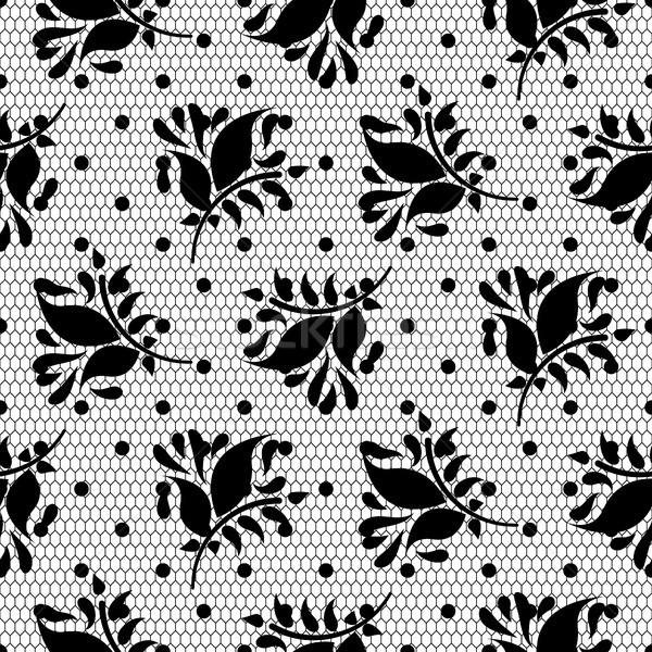 Lace floral vector black seamless pattern. Stock photo © yopixart