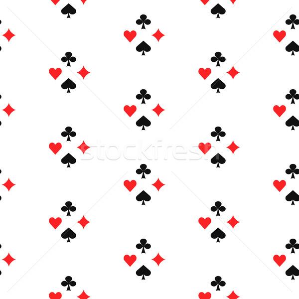 Játszik kártya öltönyök végtelen minta hazárdjáték játék Stock fotó © yopixart