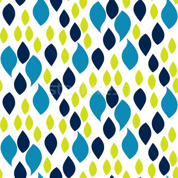 Absztrakt kék zöld csepp szirmok minta Stock fotó © yopixart