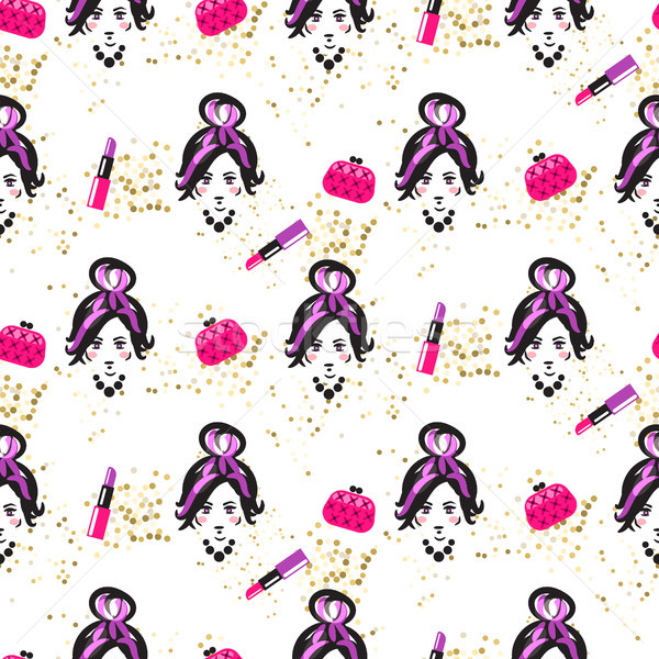 Chic girl face and purses fashion seamless pattern. Stock photo © yopixart