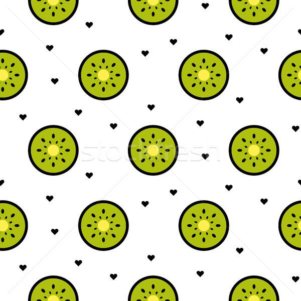киви фрукты Ломтики бесшовный зеленый шаблон Сток-фото © yopixart