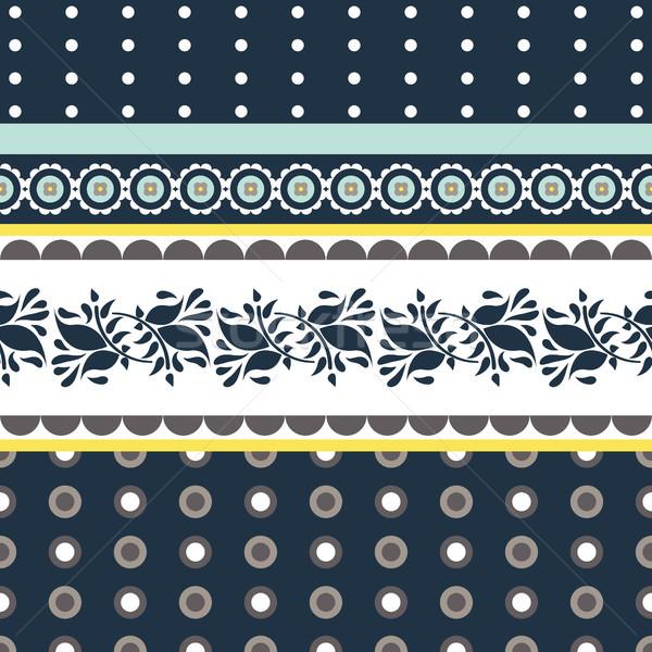 Folk floral blue and yellow seamless vector pattern. Stock photo © yopixart