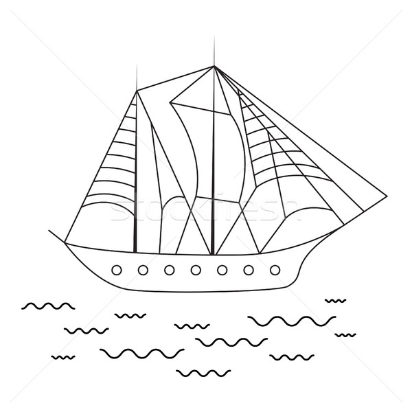 Sailing ship vector illustration. Stock photo © yopixart