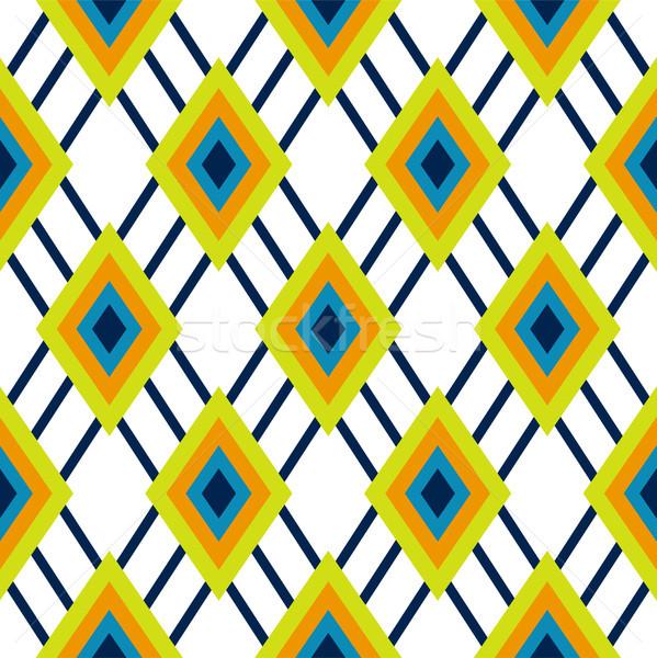 Rhombus geometric green and blue seamless pattern. Stock photo © yopixart