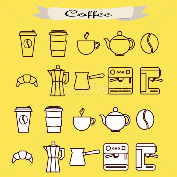 Conjunto café vetor linha ícones Foto stock © yopixart