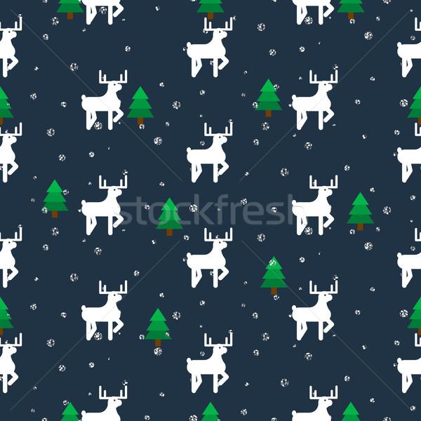 Blanche cerfs forêt modèle vectoriel Photo stock © yopixart