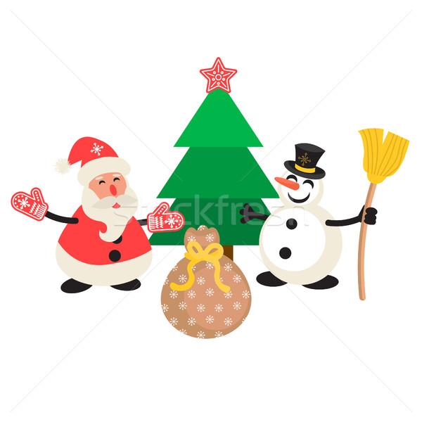 Santa Claus and Snowman cartoon vector illustration. Stock photo © yopixart