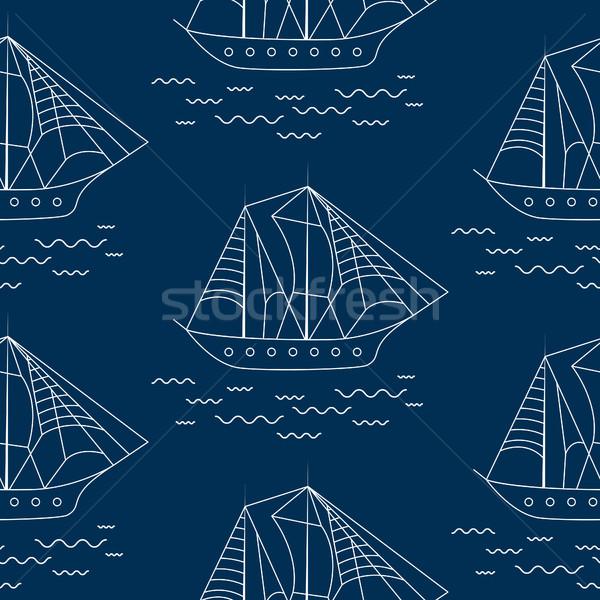 Vitorlás hajó végtelenített skicc vektoros minta firka stílus Stock fotó © yopixart
