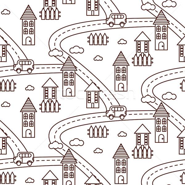 Outline village seamless pattern. Stock photo © yopixart