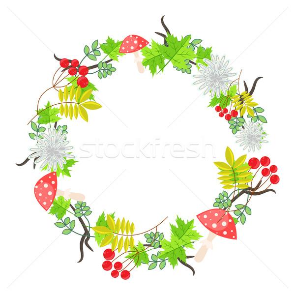 Spring floral bouquet wreath vector. Stock photo © yopixart