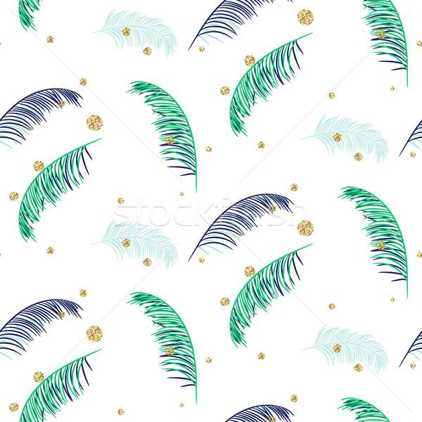 Foto stock: Azul · verde · hojas · de · palma · blanco · sin · costura · vector
