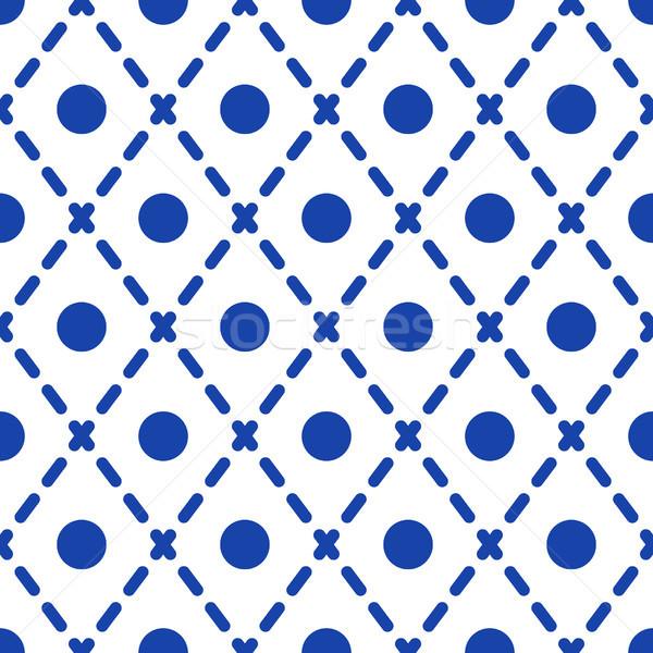 Geometric blue and white minimalistic pattern. Stock photo © yopixart