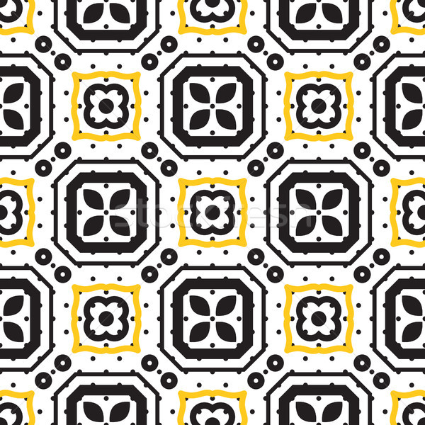 Black and white mediterranean seamless ceramic tile pattern. Stock photo © yopixart