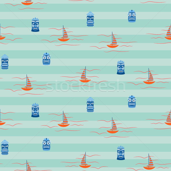 Vintage colors Hawaii ocean seamless vector pattern. Stock photo © yopixart