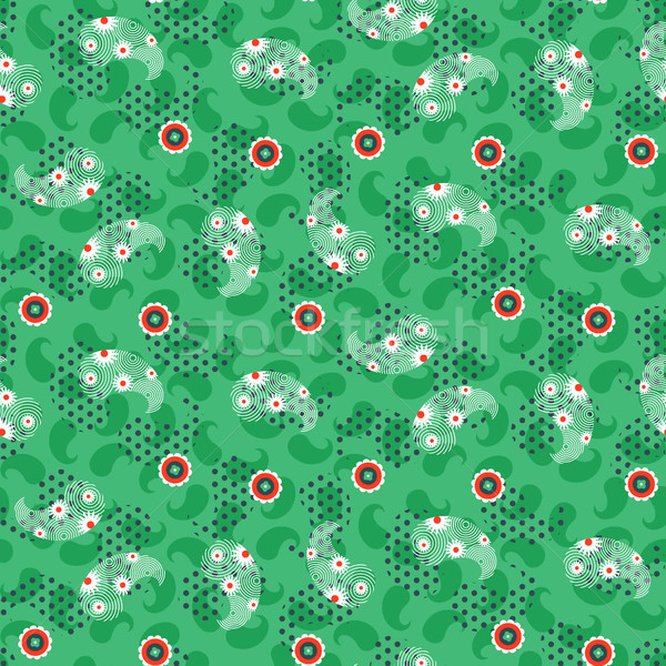 Zöld háló minta végtelenített vektor virágmintás Stock fotó © yopixart