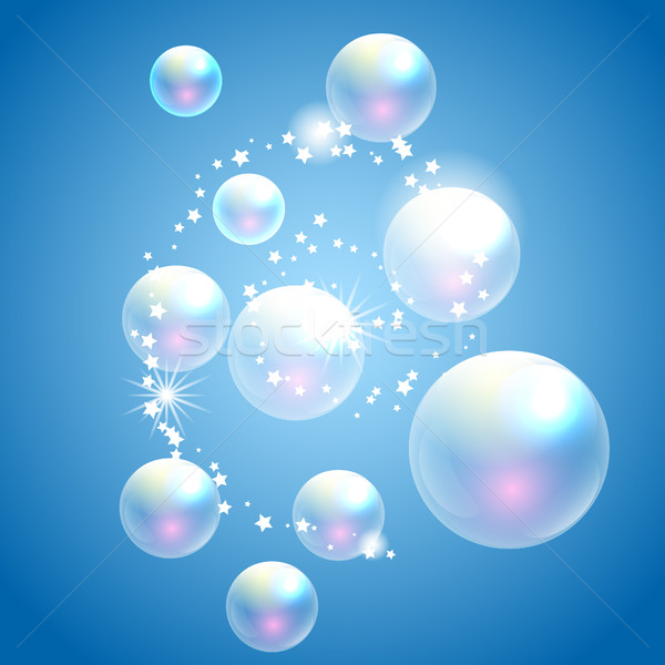 Vector zeepbellen Blauw transparant bubbels advertentie Stockfoto © yopixart