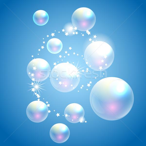Vector soap bubbles blue background. Stock photo © yopixart