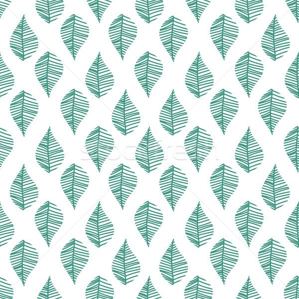 Abstract bladeren naadloos vector patroon witte Stockfoto © yopixart