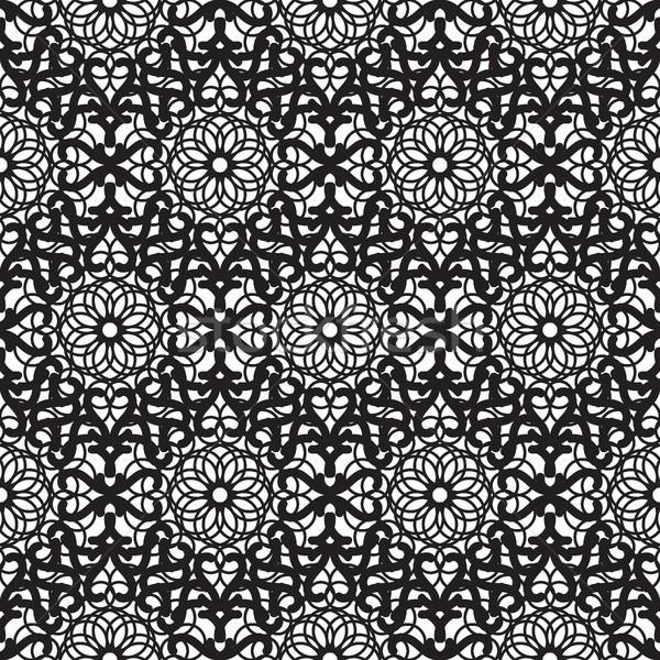 Mandala koronki gęsty czarny bezszwowy Zdjęcia stock © yopixart