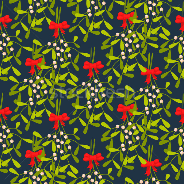 Mistletoe branches seamless vector pattern. Stock photo © yopixart