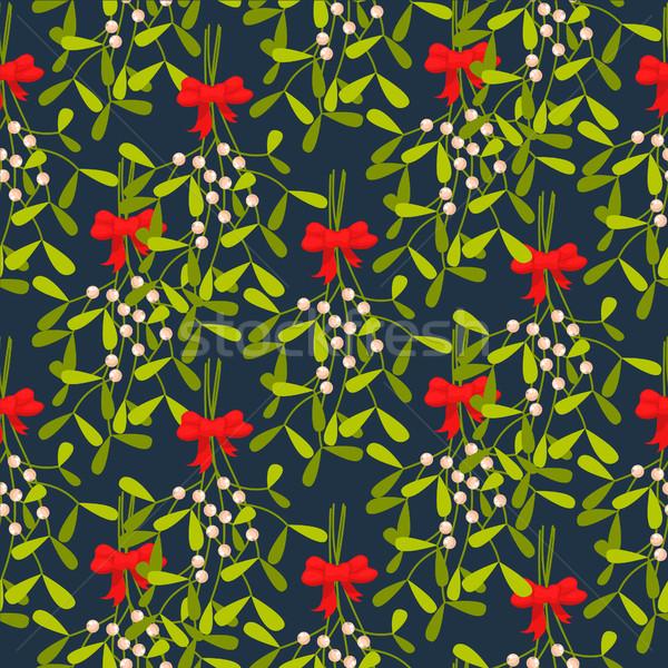 Maretak naadloos vector patroon traditioneel plant Stockfoto © yopixart