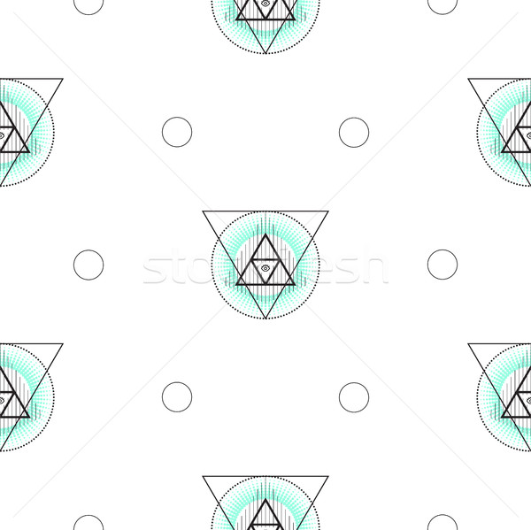 Sacred geometry triangle shapes seamless vector pattern. Stock photo © yopixart