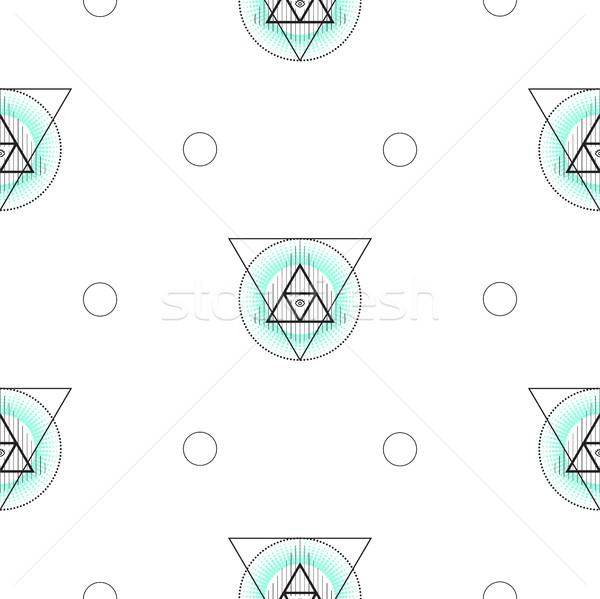 Heilig geometrie driehoek naadloos vector patroon Stockfoto © yopixart